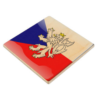 Czech Republic glossy flag Wood Coaster