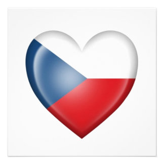 Czech Republic Heart Flag on White Personalized Announcements