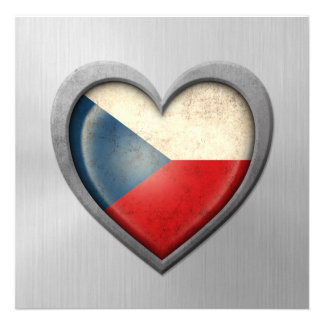 Czech Republic Heart Flag Stainless Steel Effect Personalized Invitation