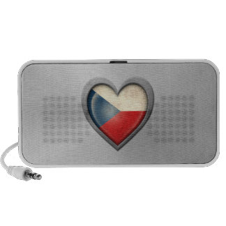 Czech Republic Heart Flag Stainless Steel Effect Laptop Speakers