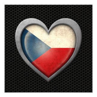 Czech Republic Heart Flag Steel Mesh Effect Personalized Invites