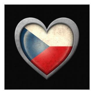 Czech Republic Heart Flag with Metal Effect Custom Invites