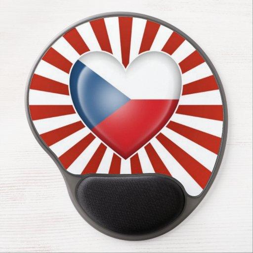 Czech Republic Heart Flag with Star Burst Gel Mousepads