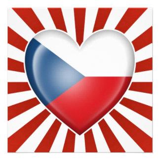 Czech Republic Heart Flag with Star Burst Invite