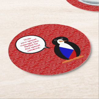 Czech Republic Holiday Mr. Penguin Round Paper Coaster