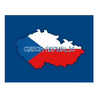 Czech Republic Map and Flag Postcard