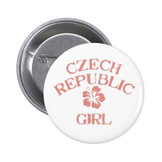 Czech Republic Pink Girl Pinback Button