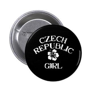 Czech Republic Pink Girl Pinback Buttons