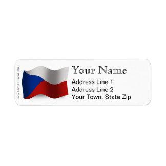 Czech Republic Waving Flag Return Address Label