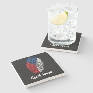 Czech touch fingerprint flag stone coaster