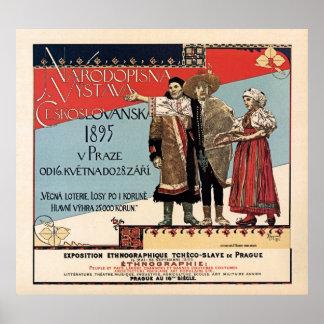 Czechoslav ethnographic exposition vintage ad poster