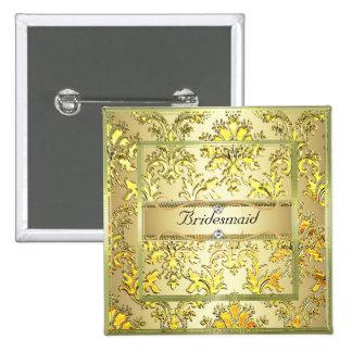 D1 Elegant Gold Damask Diamond Bridesmaid Button