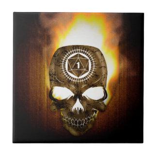 d20 Critical Fail Death Skull Ceramic Tile