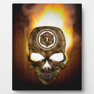d20 Critical Fail Death Skull Plaque
