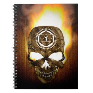 d20 Critical Fail Death Skull Spiral Notebook