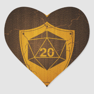 d20 Critical Save +5 Faux Leather Heart Sticker