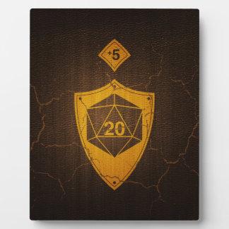 d20 Critical Save +5 Faux Leather Plaque