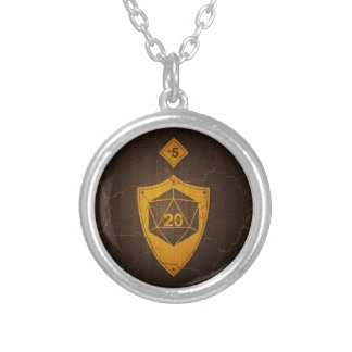 d20 Critical Save +5 Faux Leather Silver Plated Necklace