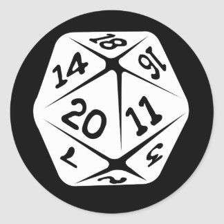 d20 geek swag classic round sticker