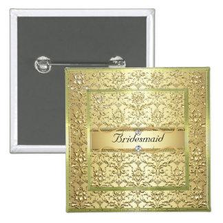 D2 Elegant Gold Damask Diamond Bridesmaid Button