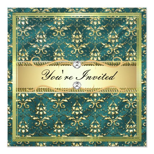 D2 Elegant Gold Teal Damask Card Template