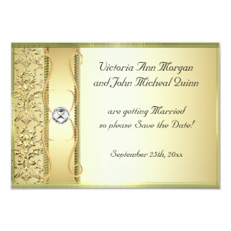 D2 Gold on Gold Damask Save the Date Card 9 Cm X 13 Cm Invitation Card