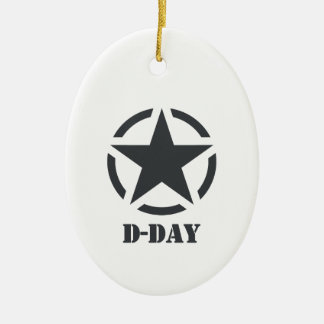 D-Day Normandy - Day-J - Normandy Double-Sided Oval Ceramic Christmas Ornament