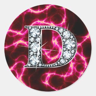 "D ""Diamond Bling"" Classic Round Sticker"