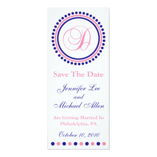 D Dot Circle Monogram Save The Date (Blue / Pink) Card