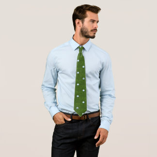 D for Dad Polkadot Green White Golf Ball Pattern Tie