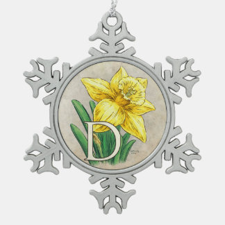 D for Daffodil Floral Monogram Pewter Snowflake Decoration