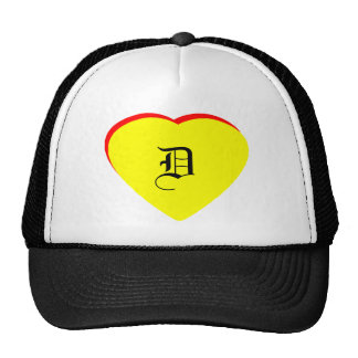 """D"" Heart Yellow Red Wedding Invitation The MUSEUM Hat"
