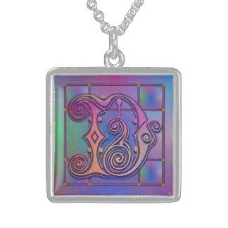D Initial Monogram Blue Rain Glass Necklace Pendants
