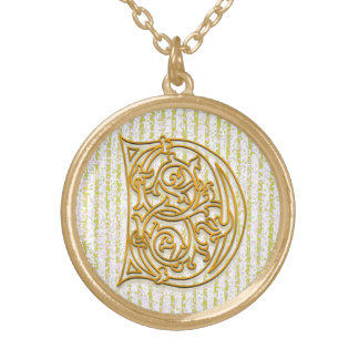 "D Initial Monogram ""Gold Pin Stripe"" Necklace"