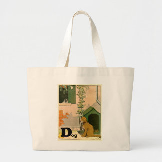 D is for Dog - Golden Retriever and Terrier Jumbo Tote Bag
