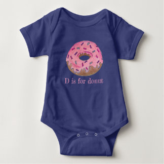 D is for Donut Pink Frosted Doughnut Sprinkles Baby Bodysuit
