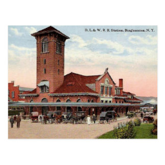 D. L. W. Railroad Station, Binghamton, New York Postcard