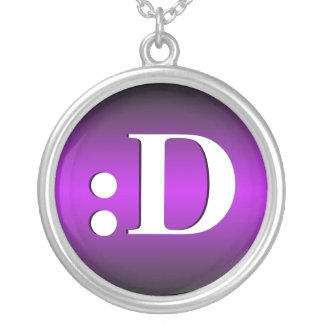 :D ~ Laughing Emoticon Purple Necklace