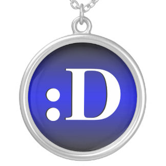 D Laughing Emoticon Royal Blue Necklace