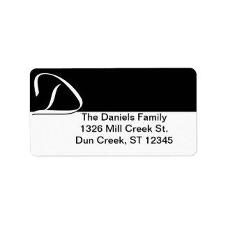 D Monogram Address Labels