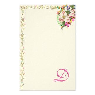 D Monogram Floral Bouquet Stationery Paper