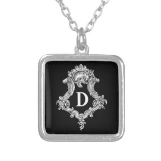 D Monogram Initial Silver Plated Necklace
