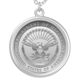 D.O.D Government Emblem Silver Plated Necklace
