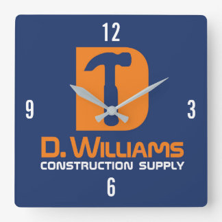 D Williams Construction Supply Square Wall Clock