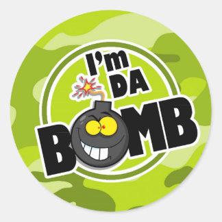 Da Bomb! bright green camo, camouflage Classic Round Sticker