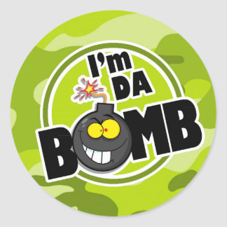 Da Bomb! bright green camo, camouflage Round Sticker
