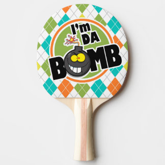 Da Bomb!  Colorful Argyle Pattern Ping Pong Paddle