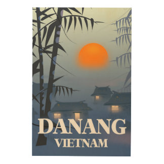 Da Nang Vietnam Travel poster Wood Print