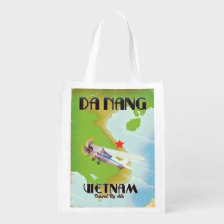 Da Nang Vietnam vintage travel poster Reusable Grocery Bag