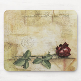 Da Vinci Letter Rose Mouse Pad